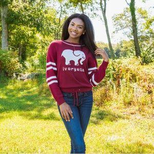 Ivory Ella Intarsia Burgundy Varsity Sweater EUC